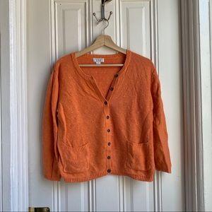 Christopher & Banks Orange Knit Cardigan